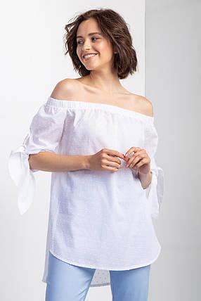 Белая хлопковая блуза BARB с открытыми плечами, удлиненной спинкой и завязками на рукавах, фото 2