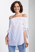 Белая хлопковая блуза BARB с открытыми плечами, удлиненной спинкой и завязками на рукавах, фото 3