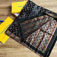 Платок шаль в стиле Louis Vuitton Monogram (Луи Витон) черно-золотой