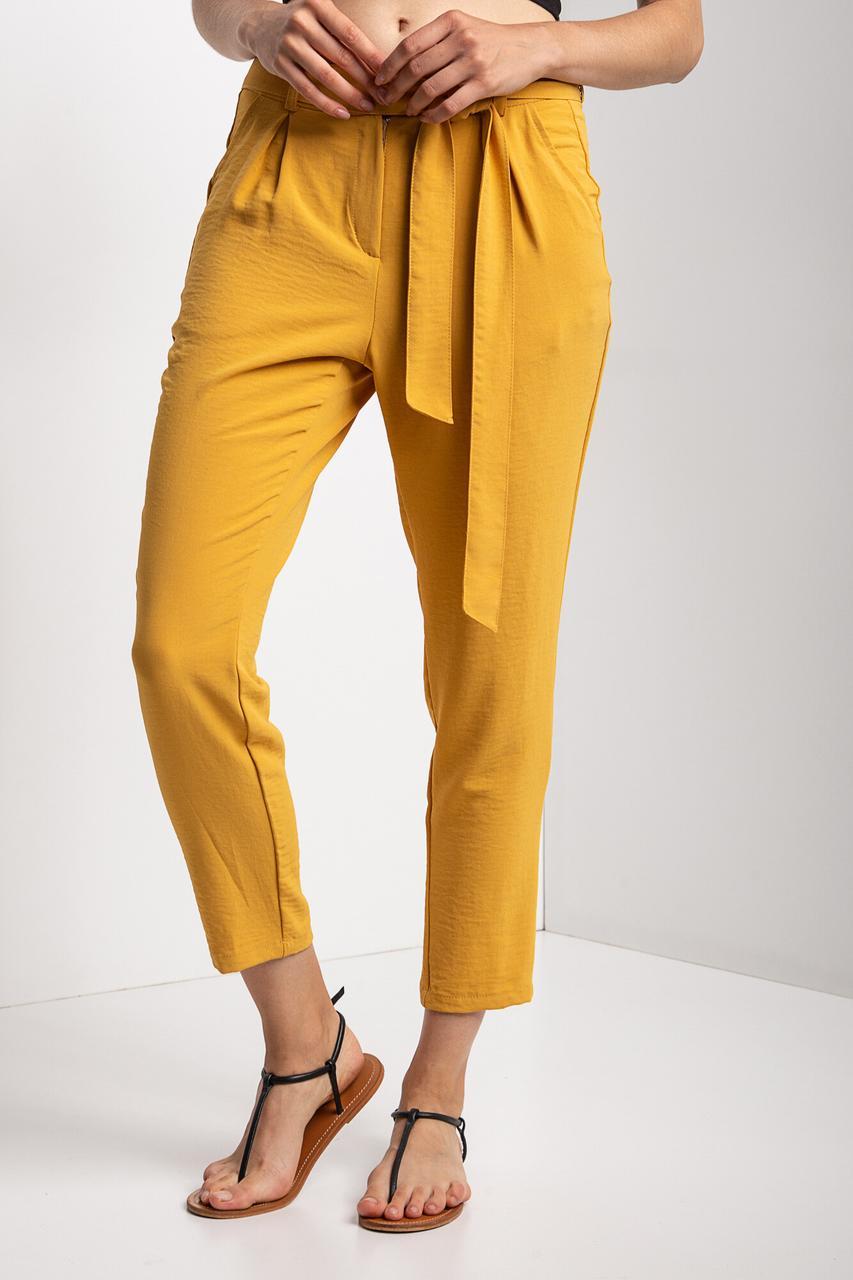 Укороченные брюки MARICHKA прямого кроя желтого цвета с завышенной талией и длинным поясом