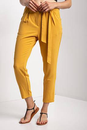 Укороченные брюки MARICHKA прямого кроя желтого цвета с завышенной талией и длинным поясом, фото 2