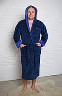 """Халат мужской махровый Синий/Голубой, надпись """"SPORT"""" на груди (Турция) XL"""