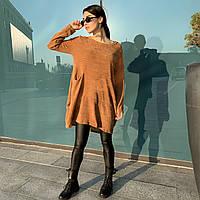 Батальное женское трикотажное платье с длинным рукавом и карманами цвета кэмел Lives (10917AZ) Италия oversize