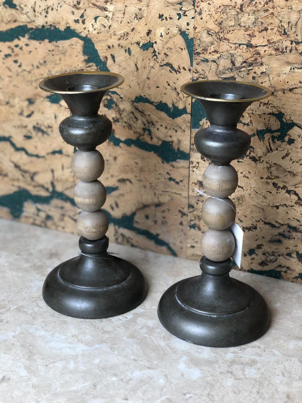 Підсвічник металевий дерев'яний декоративний