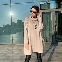 Женское батальное трикотажное платье светло-серого цвета с бусами Lives (10896AZ) Италия размер oversize