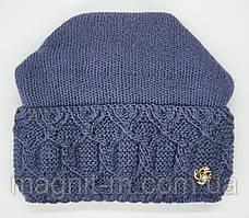 Женская теплая шапка с напуском.  Флисовая подкладка. Джинс.