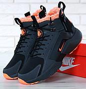 Мужские зимние кроссовки с мехом в стиле Nike Huarache Acronym Concept Black Orange черно-оранжевые
