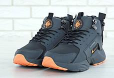 Мужские зимние кроссовки с мехом в стиле Nike Huarache Acronym Concept Grey Orange серо-оранжевые, фото 2