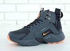 Мужские зимние кроссовки с мехом в стиле Nike Huarache Acronym Concept Grey Orange серо-оранжевые, фото 3