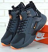 Мужские зимние кроссовки с мехом в стиле Nike Huarache Acronym Concept Grey Orange серо-оранжевые
