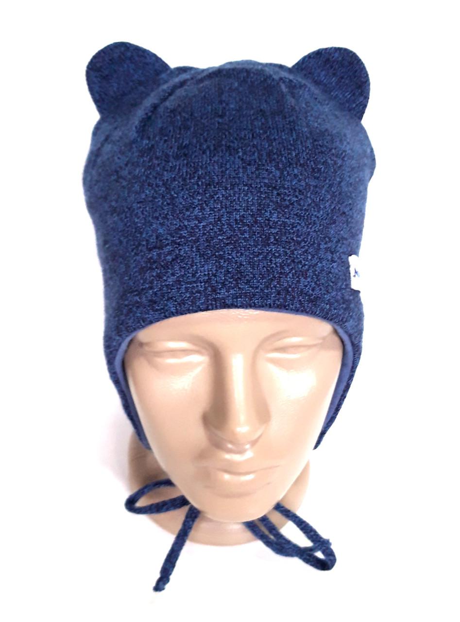 Шапка с завязками и ушками 52-54 меланж синяя