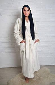 Халат женский махровый длинный Кремовый (Турция)