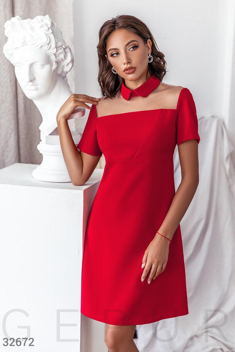 Стримане плаття трапеція з коміром червоне