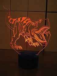 3d-светильник Тираннозавр Рекс, 3д-ночник, несколько подсветок (на пульте)