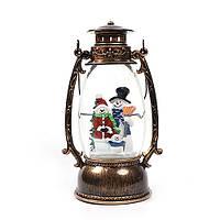 """Новогодний декор овальная лампа """"Семья снеговиков"""" со снегом Snow Globe"""