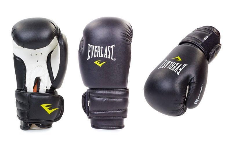 Боксерские перчатки в стиле EVERLAST MA-5018-B   размер 12 унц. черные