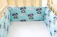 Защита на детскую кроватку из 4-х частей, Мишки Тэдди, бирюзовый