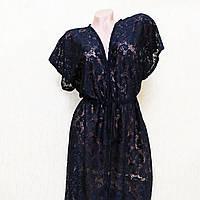 Большой 74 размер, кружевной халат для пляжа, туника-парео темно-синего цвета
