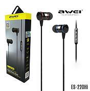 Беспроводные Наушники AWEI ES220HI, с микрофоном, черный