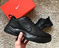 Мужские кроссовки в стиле Nike Air Monarch IV, кожа, сетка, пена, черные 41 (26 см)