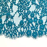 Ажурне французьке мереживо шантильї (з віями) блакитного кольору шириною 23 см, довжина купона 3,0 м., фото 7