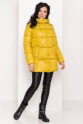 Пуховик женский зимний цвет горчица, до колена, без меха Техас Лаке  8238
