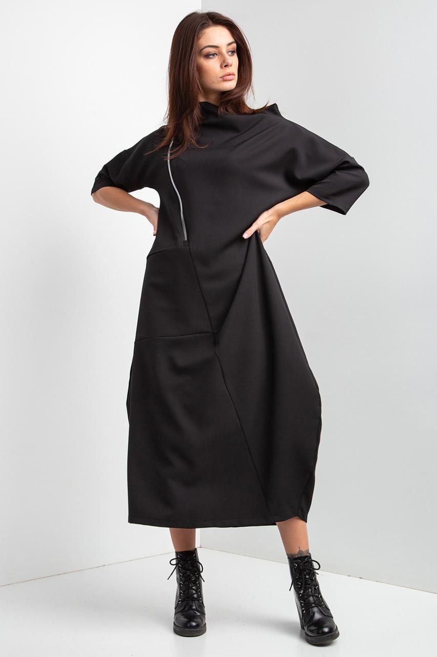Свободное платье миди LILIT черного цвета с укороченными рукавами и широким горлом