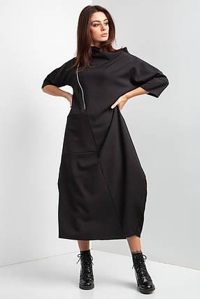 Свободное платье миди LILIT черного цвета с укороченными рукавами и широким горлом, фото 2