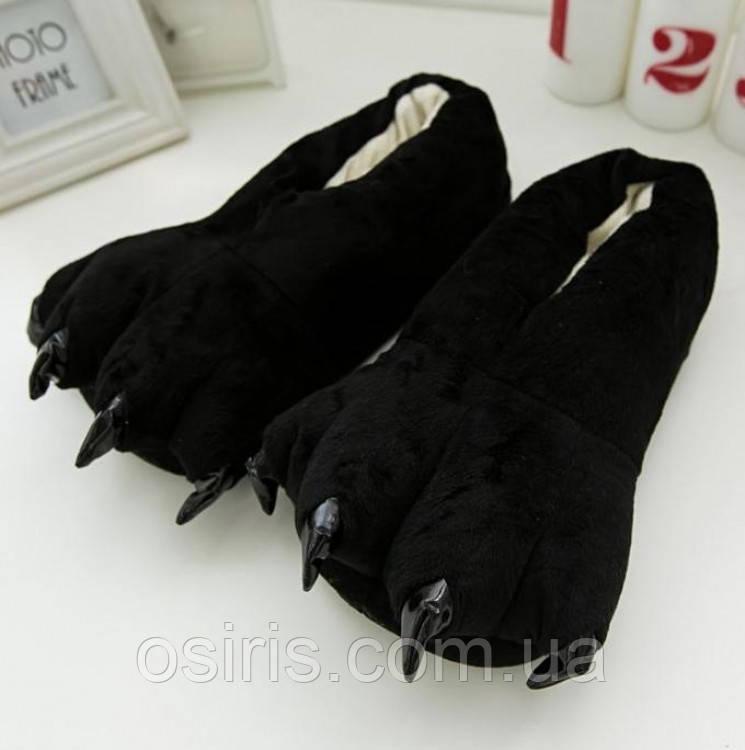 Тапки лапки подростковые / тапочки когти плюшевые с задниками черные, 34-38 размер