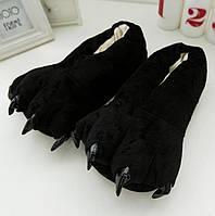 Тапки лапки подростковые / тапочки когти плюшевые с задниками черные, 34-38 размер, фото 1