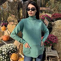 Женский свитер с длинным рукавом, высоким горлом и удобными карманами в модных расцветках, размеры: S/M, L/XL