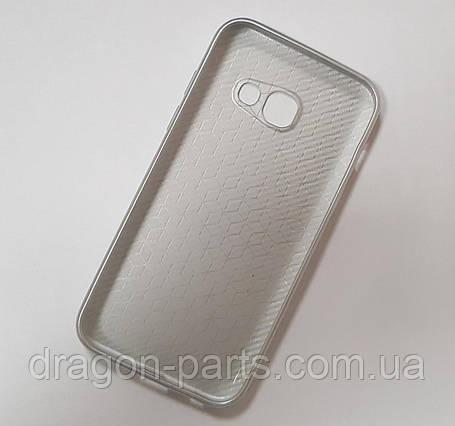 Чехол под карбон для Samsung Galaxy A3 2017 A320 серебро, фото 2
