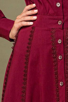 Бордовое платье с кружевом по рукавам и юбке, фото 2