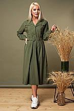 Платье-рубашка цвета хаки с пряжкой
