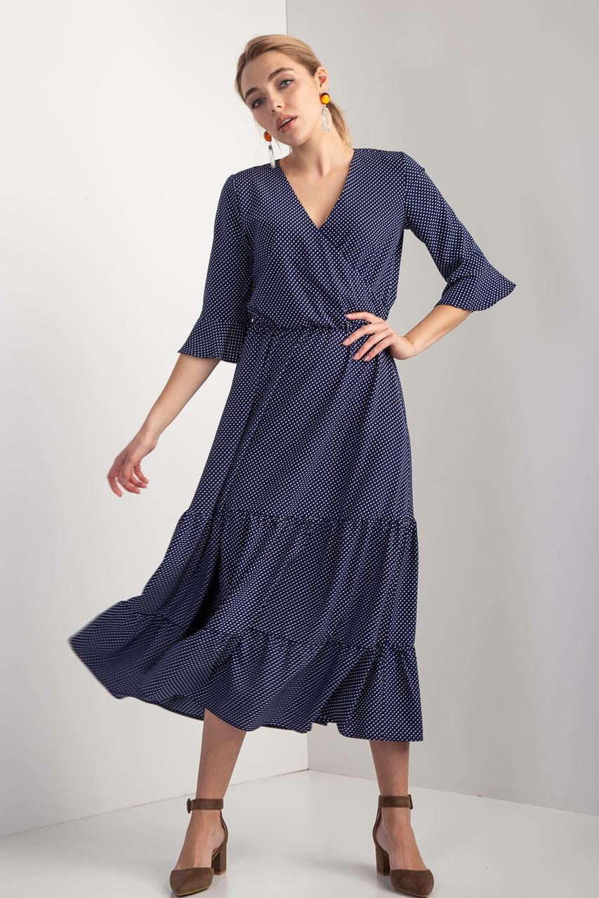 Синее платье OLIKA миди в горошек с воланами и эффектом запАха
