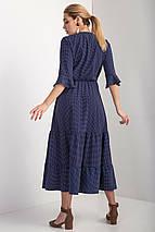Синее платье OLIKA миди в горошек с воланами и эффектом запАха, фото 3