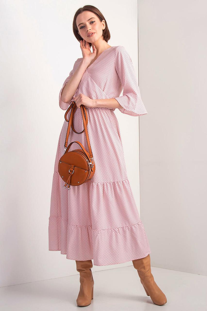 Розовое платье OLIKA в горох с воланами и эффектом запАха