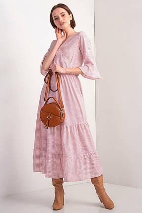 Розовое платье OLIKA в горох с воланами и эффектом запАха, фото 2