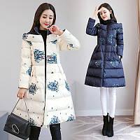 Женский пуховик пальто, белый, синий, модель 2019 г. (1775 - HKI)