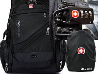 """Универсальный Рюкзак SwissGear Men Bag 8810 39 л, 17"""" + USB + дождевик black Черный"""