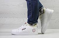 Женские зимние кроссовки на меху в стиле Fila, белые 37 (23,7 см)