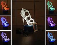 3d-светильник Туфелька, 3д-ночник, несколько подсветок (на пульте), необычный подарок для девушки