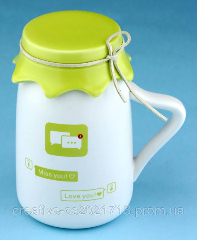 """Кружка """"Miss you chat"""" (Milk cup) , зеленая крышка"""