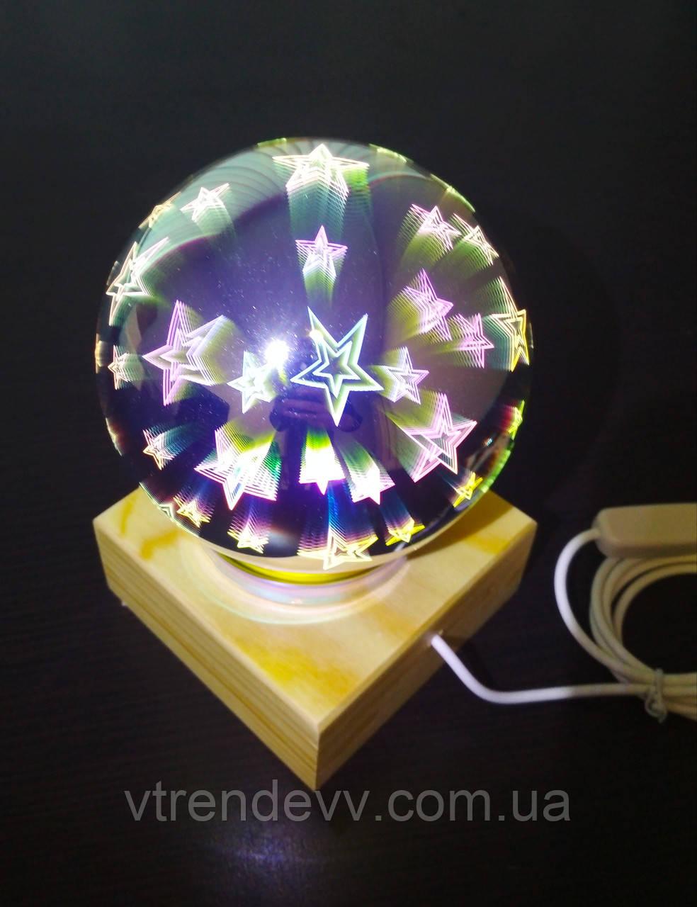 Ночник шар звездное небо стеклянный светильник Luminaria Portatil Infantil USB 12 см