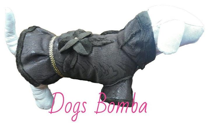 Дубленка с юбкой разводы коричневая для собак DogsBomba