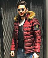 Куртка мужская демисезонная зимняя с капюшоном стильная бордовая очень тёплая  Турция