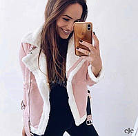 Дубленка женская красивая розовая с белым мехом, фото 1