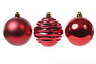 🔥 Распродажа! Набор елочных шаров 8 см, цвет - красный, 3 шт: глянец, мат, глянец с рельефом