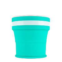 Туристическая складная кружка 350 мл. туристический силиконовый складной стакан. Туристическая посуда бирюзовый