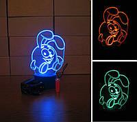 3d-светильник Крош (смешарики), 3д-ночник, несколько подсветок (батарейка+220В)
